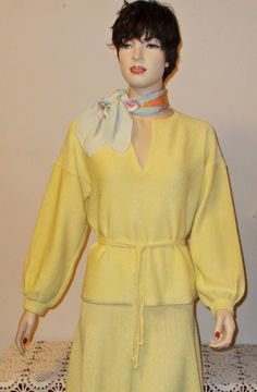 1950s Rockabilly Pinup School Girl Preppy Retro Yellow Cotton Women's Long Sleeve Pullover Sweater Skirt Belt Dress Set by Sweetlorraines2 on Etsy