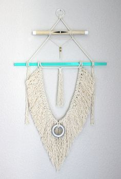 """Macrame Wall Hanging """"His Wings no.2"""" by HIMO ART, One of a kind Handcrafted Macrame/Rope art"""
