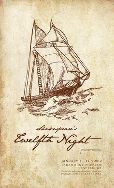 twelfth night play poster, and illustration. cassiebales.com
