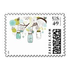 Country Wedding Mason Jar Blue Postage Stamp