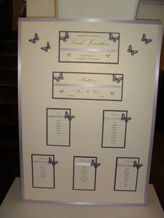 Purple & Ivory butterfly themed Wedding Table Plan for Sarah & Johnathan who got married at the Deanwater Hotel in June 2014