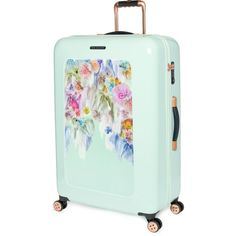 Large sugar sweet floral suitcase (7,925 MXN) ❤ liked on Polyvore featuring bags, luggage and accessories
