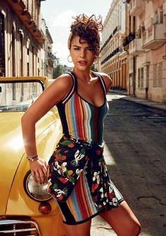 Multi coloured striped mini dress and floral wrap scarf Cuba Fashion, Fashion Shoot, Editorial Fashion, Fashion Models, Moda Tropical, Tropical Style, Modelos Fashion, Havana Nights, Moda Vintage