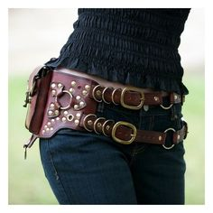$300 Leather Steampunk Belt Bag by MisfitLeather on Etsy found on Polyvore
