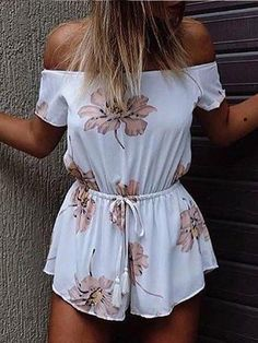 1467bebd361 Floral Print Off The Shoulder Drawstring Romper