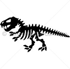 Dinosaur skeleton silhouette clip art. Download free versions of the image in EPS, JPG, PDF, PNG, and SVG formats at http://silhouettegarden.com/download/dinosaur-skeleton-silhouette/