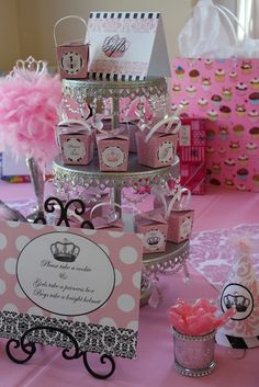 """Photo 4 of 141: Vintage crown w/ pink damask, feathers & black & white / Birthday """"Talia's vintage princess crown 1st bday"""" 