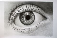 Detail pencil drawing of a female eye