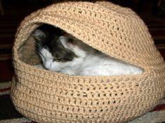 Hand Crochet Cat Oven or Cat Bed in Tan by on Etsy Crochet Pillow, Hand Crochet, Crochet Baby, Knitting Patterns, Crochet Patterns, Crochet Designs, Pinterest Crochet, Cat House Diy, Diy Cat Toys
