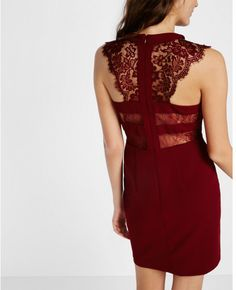 Express sleeveless lace yoke dress