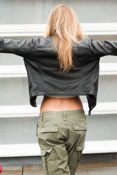One look, Two ways: Cargo Pants | Topshop Leather Jacket