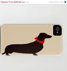 25% OFF SALE Dachshund Dog on iPhone Case - (3GS, 3G, 4S, 4,5) black and beige color Dachshund silhouette personalized pet lover iPhone 5. $36.00, via Etsy.