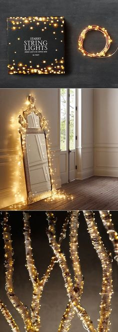 Cute idea to bring some sparkle to a little girl's room. Alternative Gardning: Starry String Lights