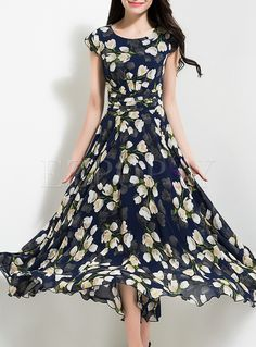 Shop for high quality Elegant Flower Print Waist Maxi Dress online at cheap prices and discover fashion at Ezpopsy.com
