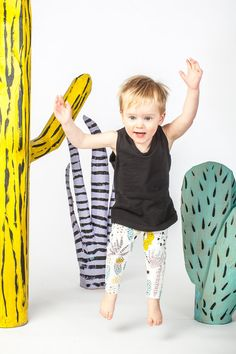 Cactus Leggings in Dusty Pink Yellow Ochre by thiefandbanditkids