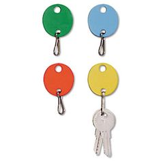 Oval Snap-Hook Key Tags, Plastic, 1 1/2 X 1 1/2, Assorted, 20/pack