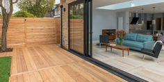 Garden and home get a makeover with Siberian Larch decking to match the internal flooring.