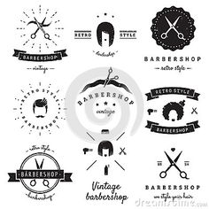 Barbershop (hair salon) logo vintage vector set. Hipster and retro style.