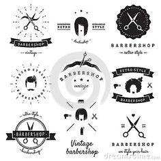 Barbershop (hair salon) logo vintage vector set. Hipster and retro style.