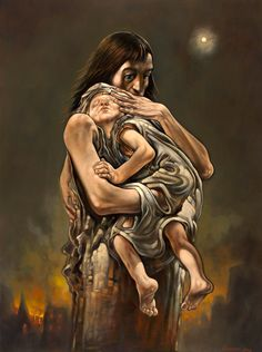 From Death to Life - Peter Howson. This shows a mother covering/shielding her baby. This painting has a lot of emotion and soul, the longer you look, the deeper the story/ situation gets. Peter Howson, Advanced Higher Art, High Art, New Art, Oil On Canvas, Death, Sadness, Painting, Hugs