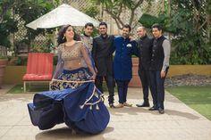 A dark blue and gold lehenga by Mohey by Manyavar for Mitali at My Best Friend's Wedding shoot by WeddingSutra. Photo Courtesy : Dev Purbiya