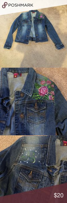 """Jean Jacket Really cute jean jacket size Medium but fits like a small. Flowers and """"R"""" are painted on but will come off if wanted. SO Jackets & Coats Jean Jackets"""