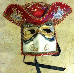SOLD $149 Authentic Venetian Bauta Casanova Music Italian MASQUERADE Mardi Gras Mask Italy