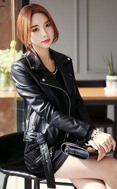 Korean Women`s Fashion Shopping Mall, Styleonme. Leder Outfits, Leather Dresses, Beautiful Asian Women, Korean Women, Asian Fashion, Leather Fashion, Asian Woman, Fashion Outfits, Women's Fashion