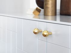 "Born says she created Superfront to offer people timeless design at reasonable prices. ""Since Ikea's cabinet foundations, like the Besta sideboard for example, have great quality these days, we thought it was an excellent idea to build our design around them,"" she explains. Pictured: Pluto handles ($22)"