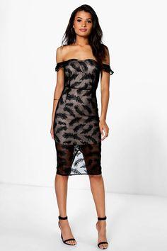 Daisy Drop Shoulder Bandeau Lace Midi Dress