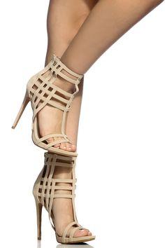 f718fd057861 Nude Faux Nubuck Cut Out Open Toe Heels   Cicihot Heel Shoes online store  sales Stiletto Heel Shoes