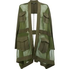 Balmain oversized sheer knit found on Polyvore featuring jackets, green, loose fit tops, loose knit top, see through tops, balmain and transparent top