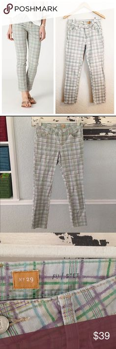 🆕Listing Anthropologie Pilcro Stet plaid jeans. Good preowned condition.  Plaid pretty blend of colors.  Style is stet. Anthropologie Jeans