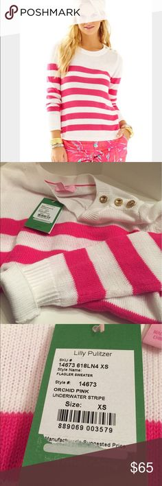 Lilly Pulitzer FLAGLER STRIPED SWEATER FLAGLER STRIPED SWEATER  DESCRIPTION  A vacation seaside isn't complete without stripes. Comfy cotton fabrication and gold button details make this a Lilly staple. Recommended accessories: sail boat and cocktail.   Long Sleeve Round Neck Striped Pullover With Button Shoulder Placket, Curved Hem, And Gold Logo Bar. Beach Cotton (100% Cotton). Machine Wash Cold. Imported. Lilly Pulitzer Tops Sweatshirts & Hoodies