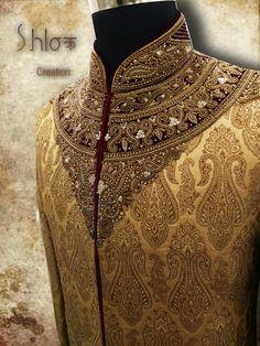 Pure jamawar sherwani with neck and back full zardoshi work....for groom