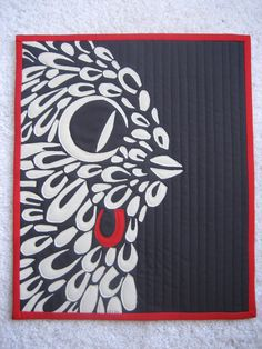 """Red Feather"" art quilt, ~14 x 16"", by Carol 