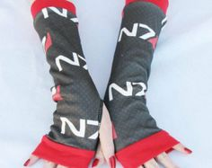 Arm Warmers Mass Effect fingerless gloves Video Game Sci Fi RPG  Gamer Gift
