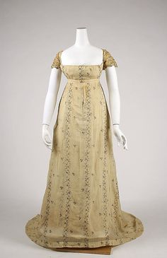 Grecian Regency: Dress French, Made of cotton 1800s Fashion, 19th Century Fashion, Victorian Fashion, Vintage Fashion, 17th Century, Gothic Fashion, Women's Fashion, Antique Clothing, Historical Clothing
