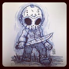 Scary Drawings, Halloween Drawings, Dark Art Drawings, Cartoon Drawings, Cartoon Art, Horror Cartoon, Funny Horror, Horror Icons, Jason Voorhees Drawing