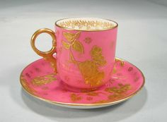 Early Hammersley Demi Cup and Saucer Heavy Gold Flowers Pink Cups, Crystal Stemware, Tea Tins, Tea Art, Pink And Gold, Blush Pink, Tea Bowls, My Tea, Gold Flowers