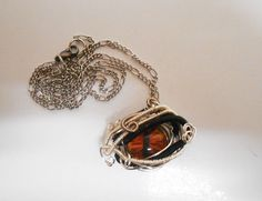 Wire Wrapped Fantasy Dragon eye Pendant Necklace #Handmade #Pendant