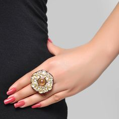 Buy Styonal Yellow & Silver Hexagon Kundan Ring Online in India @ UrbanTouch.com