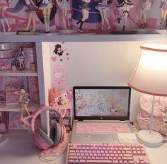 Bedroom Setup, Room Design Bedroom, Room Ideas Bedroom, Cute Room Ideas, Kawaii Bedroom, Otaku Room, Gaming Room Setup, Game Room Design, My New Room