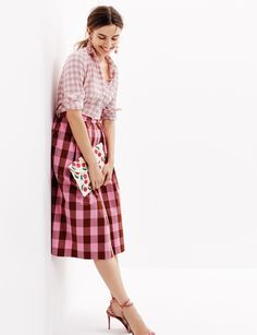 J.Crew Looks We Love: women's popover shirt in melon plaid, cotton midi skirt in oversized gingham, floral drop earrings, Kayu™ hand-embroidered envelope clutch and gingham leather sandals with bow.