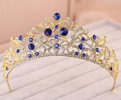 Bling Bling Crystal Wedding Bridal Tiara Crown Golden And Royal Blue Rhinestone Headband Bridal Luxury Hairwear 2015 Beauty Pageant Crown ZC from Engerlaa,$34.11 | DHgate.com