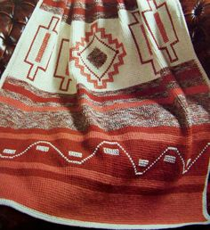 Awesome Geometric Southwest Indian Afghan by TheVintageNeedles Manta Crochet, Tunisian Crochet, Knit Or Crochet, Afghan Crochet Patterns, Crochet Stitches, Crochet Afghans, Native American Blanket, Afghan Stitch, Tapestry Crochet