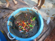 Put gummy worms and plastic spider and bugs in a tub full of mud...who ever find the most in one minute wins the prize!