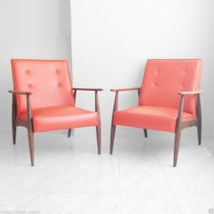 Vtg 1950s Pair Mid Century Modern Lounge Chairs Atomic Danish Club Walnut Oak