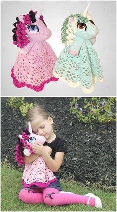 Crochet Amigurumi Dolls 35 Free Crochet Lovey Patterns for Your Cute Baby - DIY Beau Crochet, Crochet Mignon, Crochet Baby Blanket Beginner, Crochet Baby Toys, Crochet Gifts, Cute Crochet, Crochet For Kids, Poney Crochet, Crochet Pony