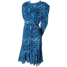 Preowned Bessi Silk Jersey Floral 1970s Vintage Dress Belt Firenze... (660 NZD) ❤ liked on Polyvore featuring dresses, blue, informal dresses, sleeved dresses, floral day dress, vintage dresses, zip back dress and floral dresses